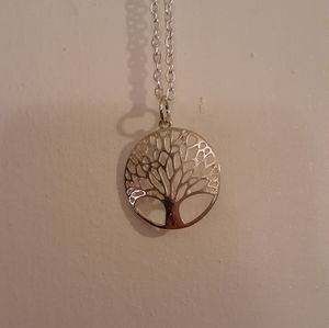 Silver tree medallion necklace